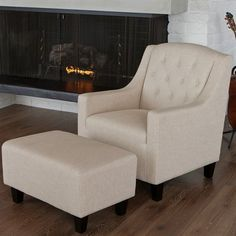 Best Selling Home Decor Elaine Tufted Fabric Chair & Ottoman Set