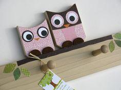 Olivia the Owl and Child Peg Rack  ecofriendly by MapleShadeKids, $69.00