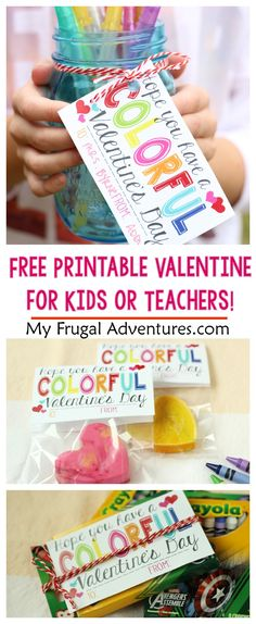 Have a Colorful Valentine's Day-- cute noncandy option for kid's valentines or use this a teacher gift!