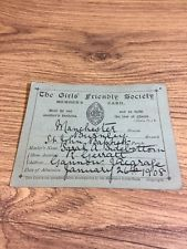 GIRLS FRIENDLY SOCIETY, 1908 MEMBERS CARD Rare Manchester