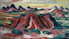 """New Mexico,"" Marsden Hartley, 1919-1923, oil on canvas, 20 3/16 x 34 1/2"", Portland Museum of Art."