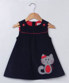 Take a look at this Navy Cat Corduroy Dress - Infant & Toddler today! Frock Design, Baby Dress Design, Cute Outfits For Kids, Baby Outfits, Toddler Outfits, Little Girl Dresses, Girls Dresses, Kids Dress Patterns, Toddler Dress