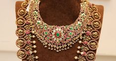 Spectacular kundan bridal necklace and grand kundan bottu haram with peacock motifs, lined with pearls from Manjula jewels, Hyderabad Sea Glass Jewelry, Silver Jewelry, Gold Jewellery, Silver Earrings, Jewelery, India Jewelry, Temple Jewellery, Bridal Necklace, Wedding Jewelry