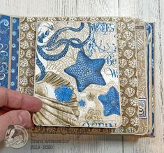 Scraps of Life: Graphic 45 Ocean Blue Mini Album Tutorial Diy Mini Album, Mini Albums Scrap, Mini Album Tutorial, Mini Scrapbook Albums, Handmade Birthday Cards, Handmade Cards, Scrapbooking Layouts, Scrapbook Templates, Quilling Designs