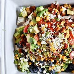 Recipe For Summertime Chopped Salad with Honey Lime Vinaigrette Grilled Corn and Chicken - Summertime Grilled Corn, Chicken Blueberry Chopped Salad with Honey Lime Vinaigrette. How Sweet It Is!