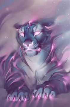 Fantasy Art Finds - Art by LhuneArt Mystical Animals, Mythical Creatures Art, Magical Creatures, Big Cats Art, Furry Art, Cat Art, Cute Animal Drawings, Cute Drawings, Art Tigre