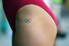 U.S. swimmer Kathleen Hersey's Olympic rings tattoo can be seen during the Santa Clara International Grand Prix swim competition in Santa Clara, California, June 19, 2011.