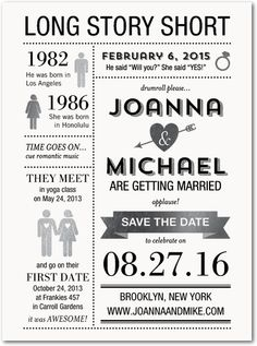 Long Story Short - Signature Foil Save the Dates in Black   East Six Design http://boards.styleunveiled.com/pin/479eaa8e93a42b42d12992f086cfa14f