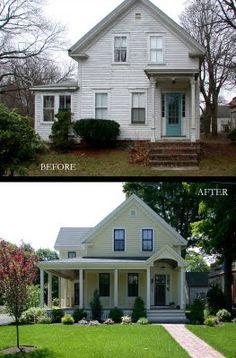 Curb Appeal Home Exterior Update love the wrap around porch Café Exterior, Exterior Remodel, Up House, House With Porch, House Floor, Renovation Facade, The Farm, House Makeovers, Room Makeovers