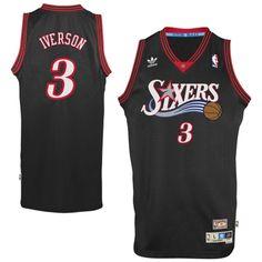69bbd6e4cc62 Mens Philadelphia 76ers Allen Iverson adidas Black Hardwood Classics Swingman  Jersey