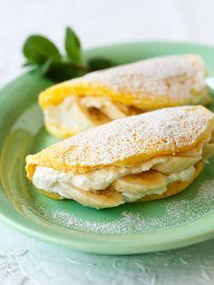 Desert Recipes, Gourmet Recipes, Sweet Recipes, Cooking Recipes, Crepes And Waffles, Banana Pancakes, Banana Recipes, Light Recipes, Food Photo