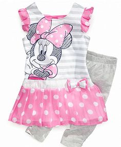 Nannette Baby Set, Baby Girls Minnie Mouse Shirtdress and Leggings - Kids Baby Girl (0-24 months) - Macy's