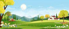 Panorama landscape of spring village wit... | Premium Vector #Freepik #vector #flower #house #nature #mountain Landscape Background, Sky Landscape, Spring Landscape, Mountain Landscape, Prado, Shadow Images, Countryside Landscape, Grass Flower, Night Forest