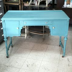 Our latest paint project for sale at Frugal Fortune. Painted shabby chic sideboard in custom teal blue.