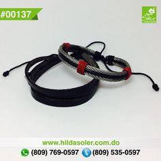 Set de pulseras en piel y cable de acero para hombres