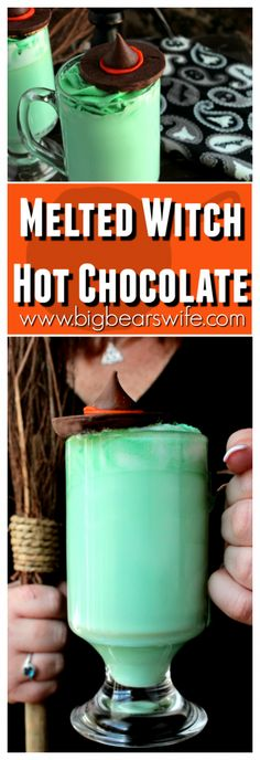 Halloween Recipes Melting Witch Hot Chocolate – Big Bear's Wife – Great idea for our next … Chocolat Halloween, Sac Halloween, Halloween Baking, Halloween Goodies, Halloween Food For Party, Halloween Desserts, Holidays Halloween, Happy Halloween, Witch Party