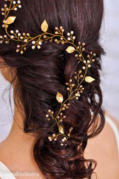 Cabeza de novia boda cabello vid pedazo de por KirenaExclusive