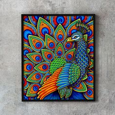 Beautiful Colorful Paisley Peacock drawing by Rebecca Wang. Available as a fine art print, home decor products, and other gift ideas! Peacock Drawing, Peacock Painting, Dot Art Painting, Mandala Painting, Peacock Artwork, Mandala Art, Mandala Drawing, Madhubani Art, Madhubani Painting