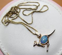Vintage Gold Coloured & Faux Opal Australian Kangaroo Pendant Necklace by GillardAndMay on Etsy