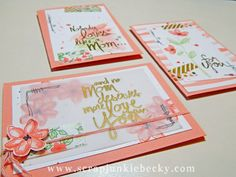 A fun trio of cards using the Mother's Love set. PLUS a tutorial on how to make your own washi tape with DSP! ~Becky Cowley