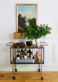 Raise The Bar - Designer Chris Benz's Colorful Brooklyn Brownstone - Photos Bar Cart Styling, Bar Cart Decor, Cheap Home Decor, Home Decor Items, Gold Bar Cart, Modern Contemporary Homes, Bar Furniture, Entry Furniture, Royal Furniture