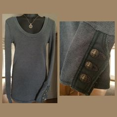 "Free People Motor Cuff Thermal. Rare!  Final price ""Motor Cuff""Charcoal grey, fun style with 3 pewter buttons on each cuff framed with beautiful fabric on top of distressed raw twill.  Ribbed, scoop neck style.  28"" long from shoulder to hem. Unstretched the armpit to armpit measurement is 15.5"" but this top can comfortably accommodate up to a 39"" bust.  Great used condition!  Hard to find thermal.  trades Free People Tops"