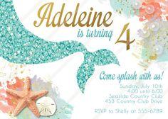 Mermaid Invitation Birthday Party Under The Sea Invitations Digital Invite Printable MERMAID TALE