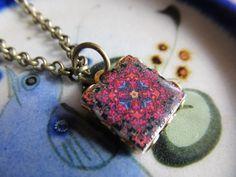Named Avalon Mini Boho Bohemian Tile Pottery Necklace by FayWestDesigns, $18.00