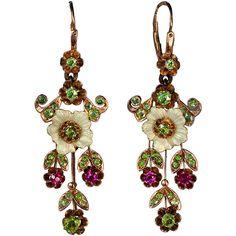 Russian Art Nouveau Enameled Demantoid Long Earrings at 1stdibs ❤ liked on Polyvore