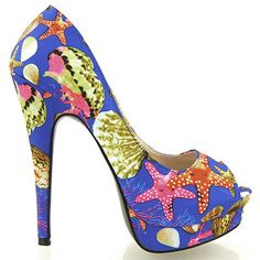 YF04311 Blue World Under The Sea Print Peeptoe Platform Pumps