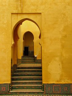 Doorway-Meknes-Morocco-Africa Moorish doorway- love the repeating architectural element, especially in the oversaturated, monochromatic color.<br> A doorway in Meknes, Morocco Africa Kairo, Islamic Architecture, Building Architecture, Architecture Design, Mellow Yellow, Mustard Yellow, Mustard Walls, Shades Of Yellow, Colour Yellow