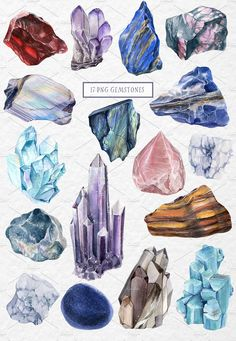 GEMSTONES watercolor collection by Lemaris on Creative Market - Art Sketches Gem Drawing, Painting & Drawing, Crystal Drawing, Oeuvre D'art, Art Inspo, Art Reference, Watercolor Paintings, Watercolour, Creative