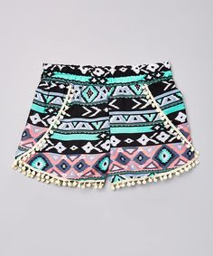 Look at this Dressing Superwoman Teal & Pink Geometric Pom-Pom Shorts - Girls on #zulily today!