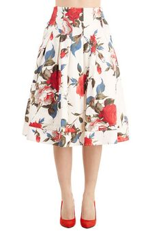 Greenhouse Grandeur Skirt in White. Your green thumb has been known to influence your prettiest outfits, and this white midi skirt fittingly strikes your fancy. #white #modcloth