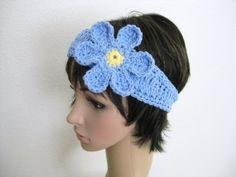 HandmadeCrocheted Headband with FlowerLight Blue by RoseJasmine, $14.00