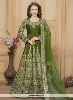 Make the heads turn when you #dress up in this charming #olive #artsilk #floorlength #anarkali #salwar #suit.