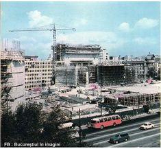 Teatrul Național și hotelul Intercontinental încep a se Bucharest Romania, Time Travel, Times Square, Buildings, Memories, Photos, Romania, Memoirs, Souvenirs