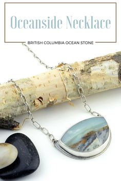 "The ""Oceanside"" necklace was handcrafted with a hand cut and polished scenic cabochon created from British Columbia Ocean Stone.  Looking at the cabochon, you can see the ocean waves crashing into a rocky shoreline.  The colors of this stone range from earthy browns to seafoam whites and blues."
