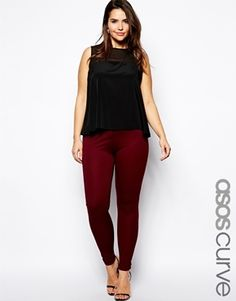 Plus Size ASOS CURVE High Waist Pant In Ponte - Oxblood