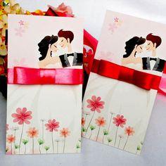 $2.62 Personalized custom wedding invitations / wedding invitation cards / invitations / paste / hi paste  Standard Edition  4 fold wedding invitations heart-shaped buckle