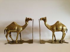 Stunning large etched brass camel bookends by FromThenOn on Etsy