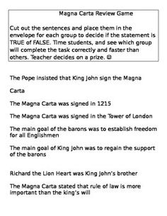 This game could be played after teaching Magna Carta lesson. Students work in cooperative groups to determine if the statements are true or false. This game promotes teamwork and makes students put their brains together. Can be used before the test. Works well if the teacher provides an incentive for the winning team.