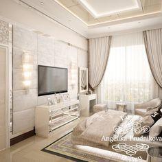 Дизайн интерьера спальни в стиле Ар Деко в светлых оттенках в ЖК Садовые кварталы