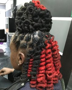 Red and Black Curly Locs Dreadlock Styles, Dreads Styles, Natural Hair Care, Natural Hair Styles, Dreads Girl, Dreadlock Hairstyles, Braided Hairstyles, Black Girls Hairstyles, American Hairstyles