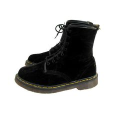 Vintage Dr Martens AirWair Boots Black Velvet Pre-Owned 8 Eyelet Doc... (500 PLN) ❤ liked on Polyvore featuring shoes, boots, ankle booties, footwear, velvet combat boots, black booties, black army boots, black military boots and black combat boots
