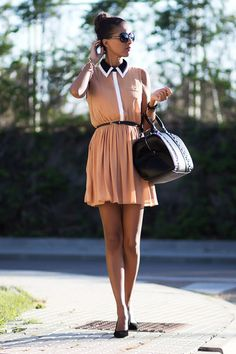 I love this baby pink and black dress it's like a modern day princess dress for summer!