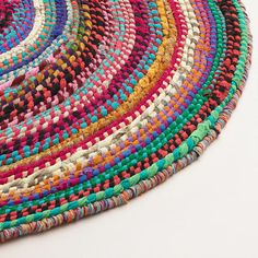 Swirl Rainbow Multicolor Round Striped Chindi Area Rug
