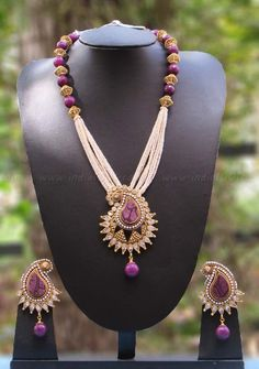 Elegant Pearl & Polki Necklace Set – India1001.com
