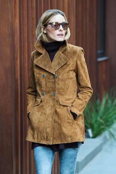Olivia Palermo wearing Westward Leaning Pioneer 24 Sunglasses and Zara Suede Jacket in Tobacco