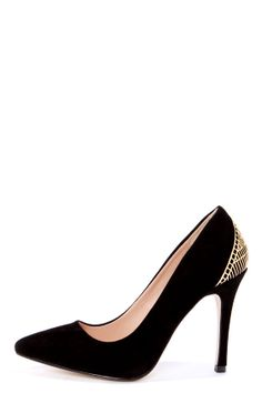 Mixx Shuz Eliza Black Kid Suede Gold Cage Pointed Pumps at LuLus.com! #lulus and #holidaywear